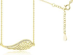 Valerio Pozłacany srebrny naszyjnik gwiazd celebrytka skrzydło anioła wings cyrkonie srebro 925 Z1606N_G