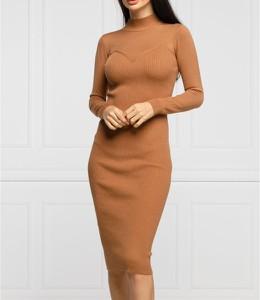 Brązowa sukienka Guess z długim rękawem