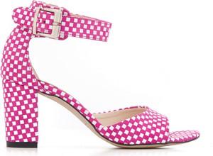 Różowe sandały Zapato ze skóry na obcasie
