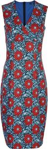 Niebieska sukienka Nife bez rękawów z dekoltem w kształcie litery v mini