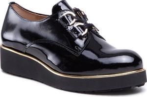 Czarne półbuty Eksbut sznurowane w stylu casual z płaską podeszwą