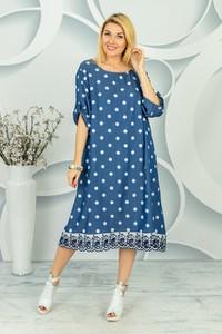 Niebieska sukienka Made in Italy w stylu casual z długim rękawem z okrągłym dekoltem
