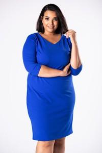 Niebieska sukienka Moda Dla Ciebie z długim rękawem dopasowana