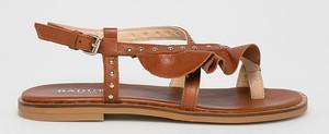 Brązowe sandały Badura ze skóry z płaską podeszwą