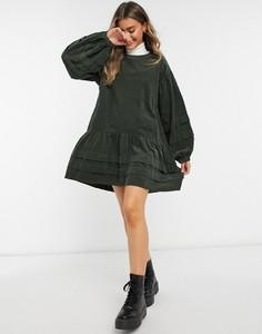 Zielona sukienka Asos z długim rękawem ze sztruksu
