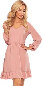 Różowa sukienka NUMOCO mini z długim rękawem