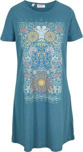 Niebieska sukienka bonprix z okrągłym dekoltem z bawełny