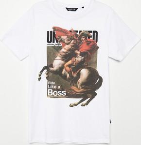 T-shirt Cropp z nadrukiem z krótkim rękawem z bawełny