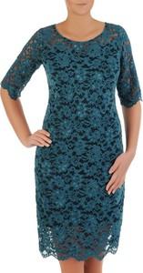 Niebieska sukienka POLSKA z okrągłym dekoltem mini
