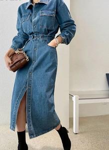Sukienka Cikelly z długim rękawem maxi koszulowa
