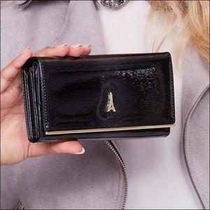 Granatowy portfel Paris Design ze skóry w stylu glamour