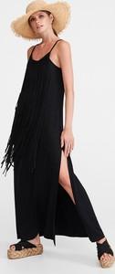 Czarna sukienka Reserved maxi z okrągłym dekoltem w stylu casual