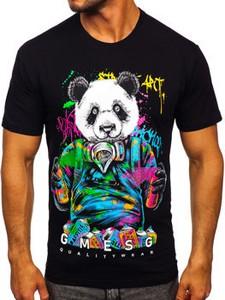 Czarny t-shirt Denley z nadrukiem
