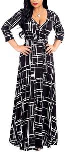 Sukienka Cikelly z długim rękawem kopertowa maxi