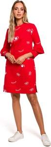 Sukienka MOE z okrągłym dekoltem trapezowa z długim rękawem