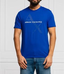 Niebieski t-shirt Armani Exchange w młodzieżowym stylu z bawełny z krótkim rękawem