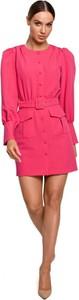 Różowa sukienka MOE w stylu casual mini z okrągłym dekoltem