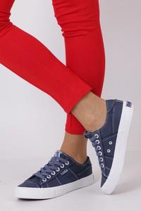 Niebieskie trampki Big Star w młodzieżowym stylu niskie z płaską podeszwą