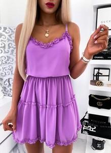 Fioletowa sukienka Cikelly na ramiączkach mini