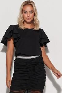Czarna bluzka Makadamia z krótkim rękawem