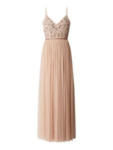 Różowa sukienka Lace & Beads na ramiączkach z dekoltem w kształcie litery v