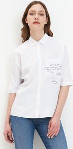 Koszula Mohito z krótkim rękawem z dekoltem w kształcie litery v
