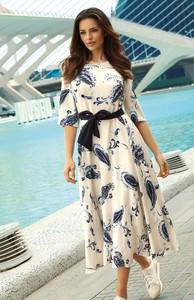 Sukienka Poza z długim rękawem maxi z dekoltem w kształcie litery v