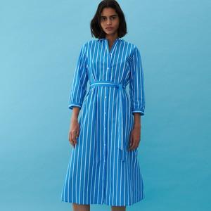 Niebieska sukienka Reserved midi szmizjerka z długim rękawem