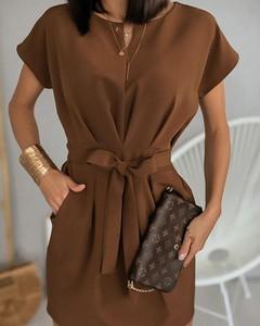 Brązowa sukienka Kendallme szmizjerka mini
