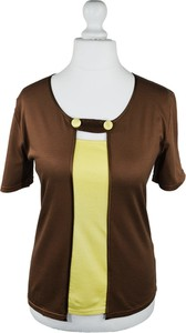 Brązowa bluzka Jedwab Polski z jedwabiu w stylu glamour