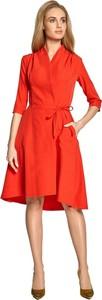 Sukienka Style z dekoltem w kształcie litery v midi z długim rękawem