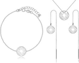 Irbis.style komplet srebrnej biżuterii - kolczyki, bransoletka i naszyjnik