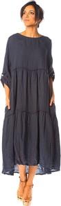 Sukienka La Compagnie Du Lin z lnu w stylu casual z okrągłym dekoltem