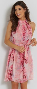 Różowa sukienka Ivon bez rękawów mini z szyfonu
