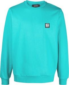 Niebieski sweter Diesel z okrągłym dekoltem z bawełny
