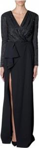 Czarna sukienka Elisabetta Franchi z dekoltem w kształcie litery v maxi