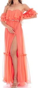 Pomarańczowa sukienka Feleppa maxi z krótkim rękawem hiszpanka