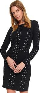 Czarna sukienka Top Secret z długim rękawem z okrągłym dekoltem z dzianiny