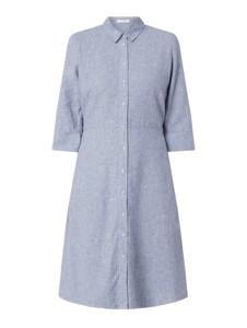 Niebieska sukienka Opus koszulowa z długim rękawem z bawełny