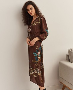 Brązowa sukienka Top Secret z długim rękawem asymetryczna z tkaniny