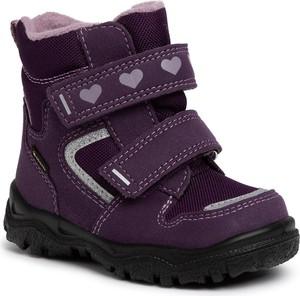 Fioletowe buty dziecięce zimowe Superfit na rzepy z goretexu