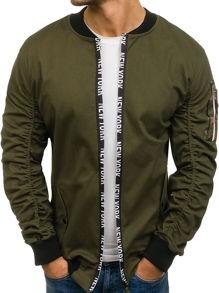 Zielona kurtka denley bez wzorów w street stylu