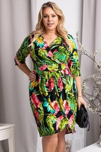 Sukienka KARKO z tkaniny z dekoltem w kształcie litery v z długim rękawem