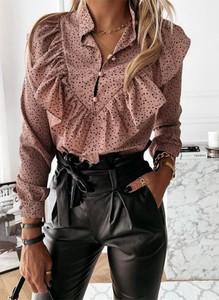 Różowa bluzka Sandbella z długim rękawem w stylu casual z dekoltem w kształcie litery v