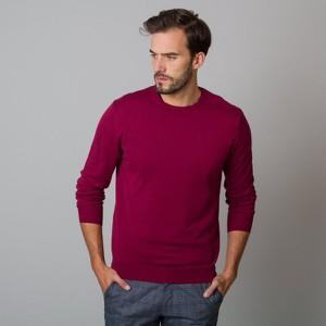 Czerwony sweter Willsoor w stylu casual z okrągłym dekoltem