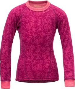 Różowa koszulka dziecięca Devold z długim rękawem