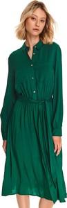 Zielona sukienka Top Secret midi koszulowa z kołnierzykiem