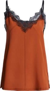 Pomarańczowa bluzka Set z dekoltem w kształcie litery v z jedwabiu