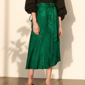 Zielona spódnica Reserved z żakardu midi