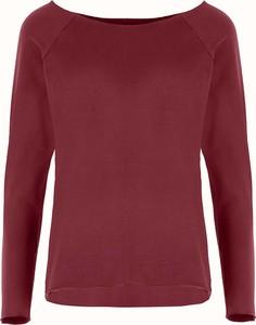 Czerwona bluzka By Insomnia z okrągłym dekoltem z długim rękawem w stylu casual
